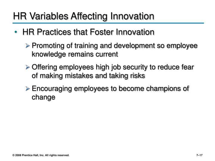 HR Variables Affecting Innovation