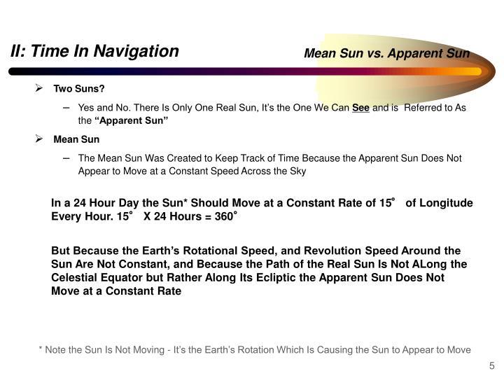 Mean Sun vs. Apparent Sun