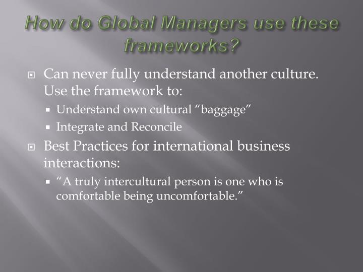 How do Global Managers use these frameworks?