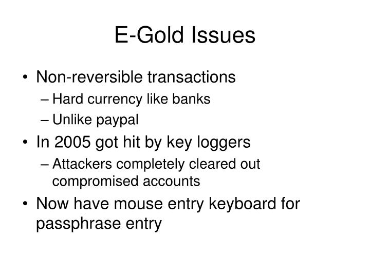 E-Gold Issues