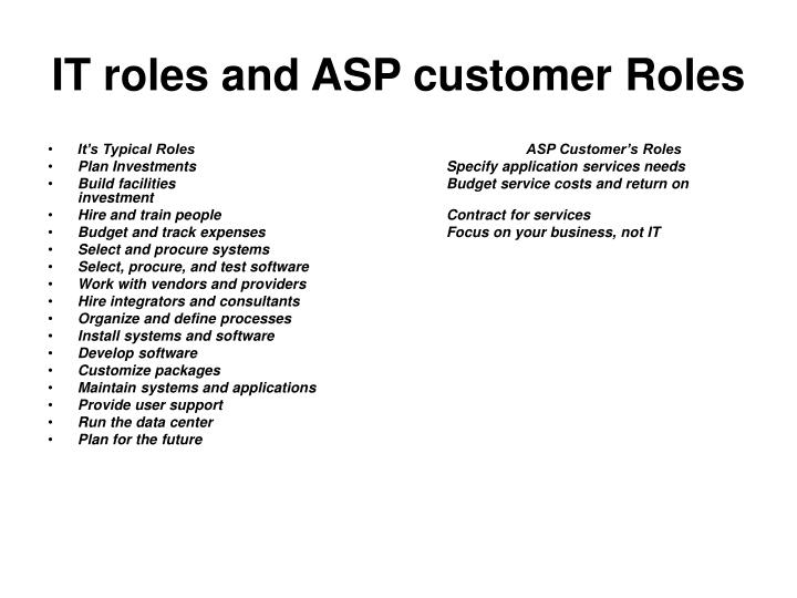 IT roles and ASP customer Roles