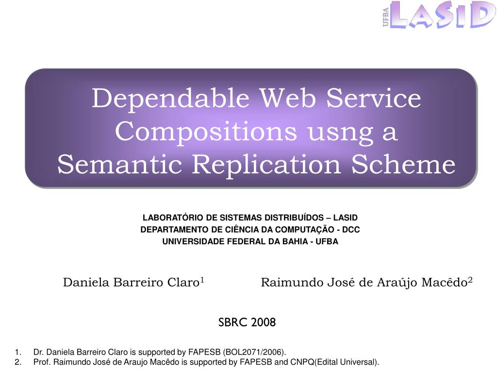 dependable web service compositions usng a semantic replication scheme l.