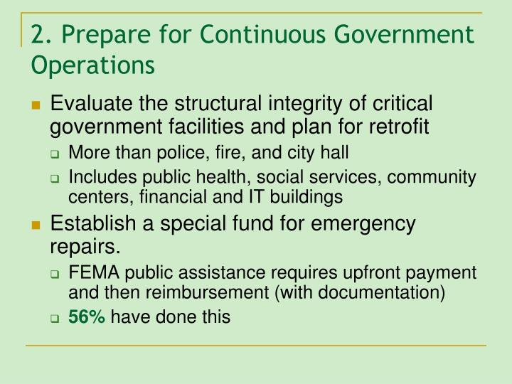 2. Prepare for Continuous Government Operations