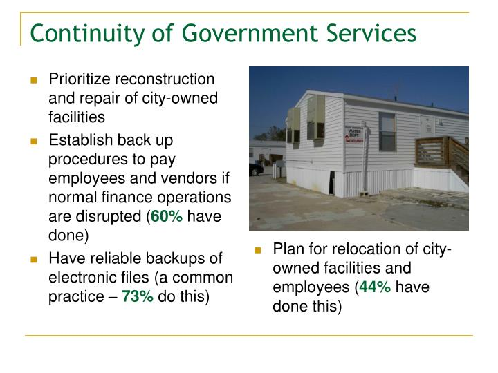 Prioritize reconstruction and repair of city-owned facilities