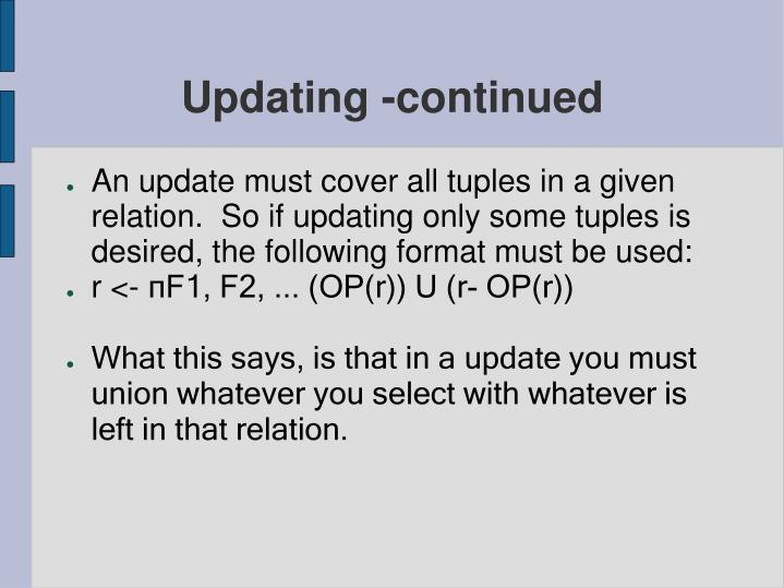 Updating -continued