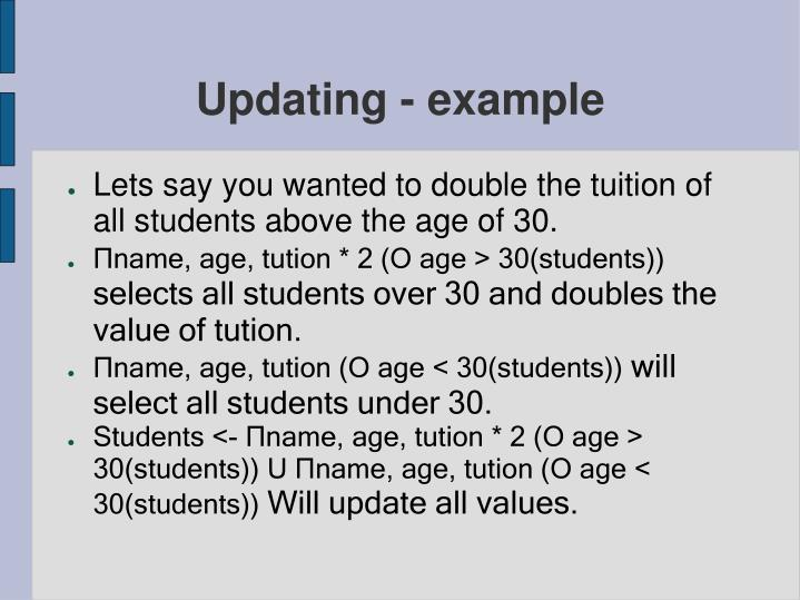 Updating - example