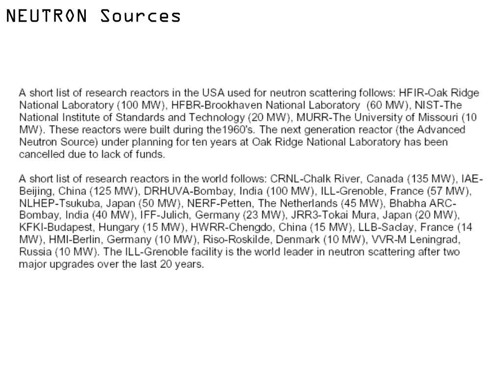 NEUTRON Sources