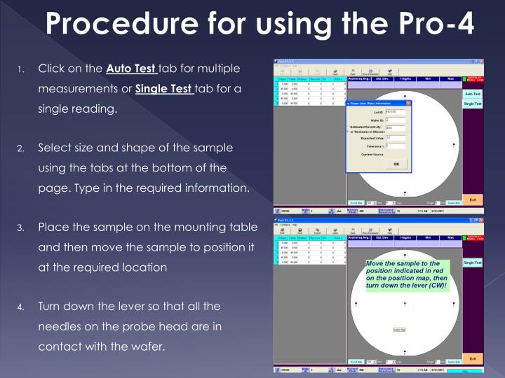 Procedure for using the Pro-4