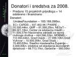 donatori i sredstva za 2008