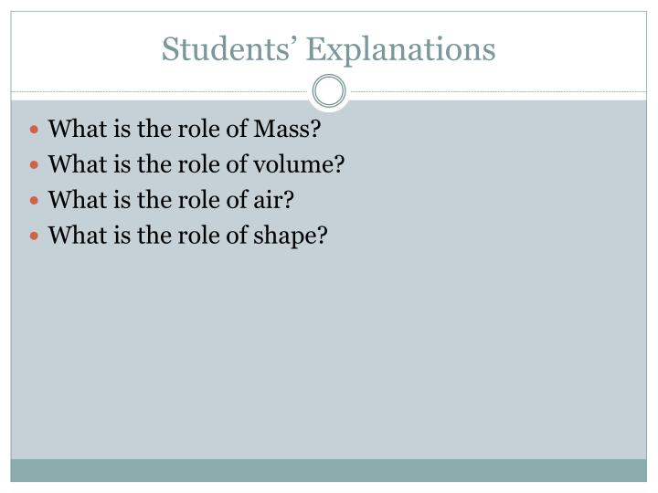Students' Explanations