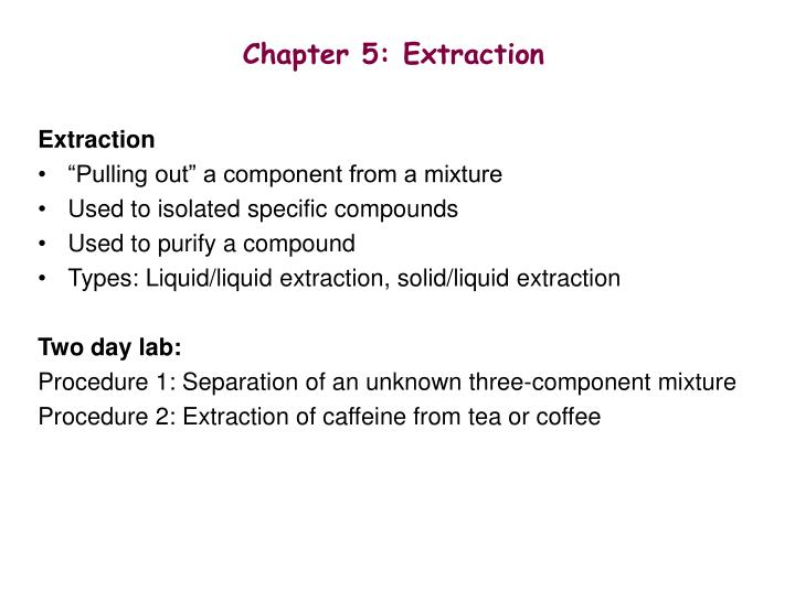 Chapter 5 extraction