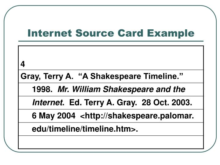 how to make bibliography cards for internet sources