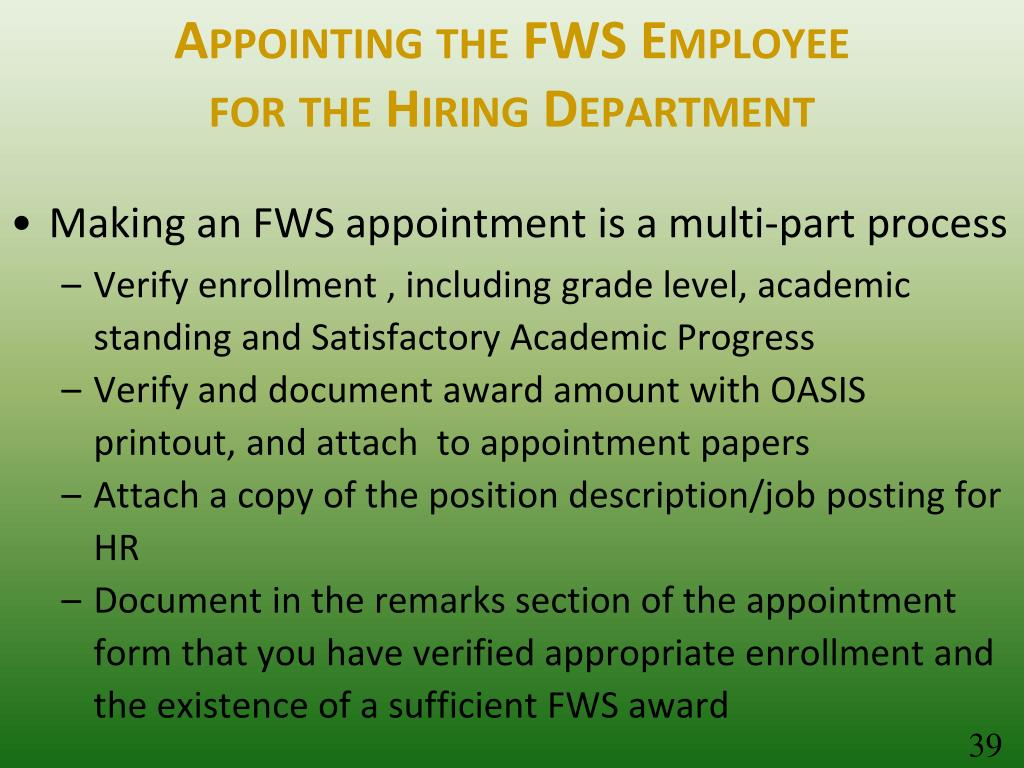 Appointing the FWS Employee