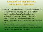appointing the fws employee for the hiring department