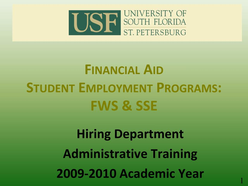 financial aid student employment programs fws sse l.
