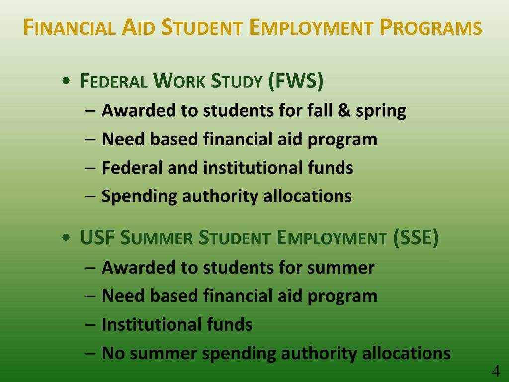 Financial Aid Student Employment Programs