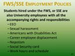 fws sse employment policies