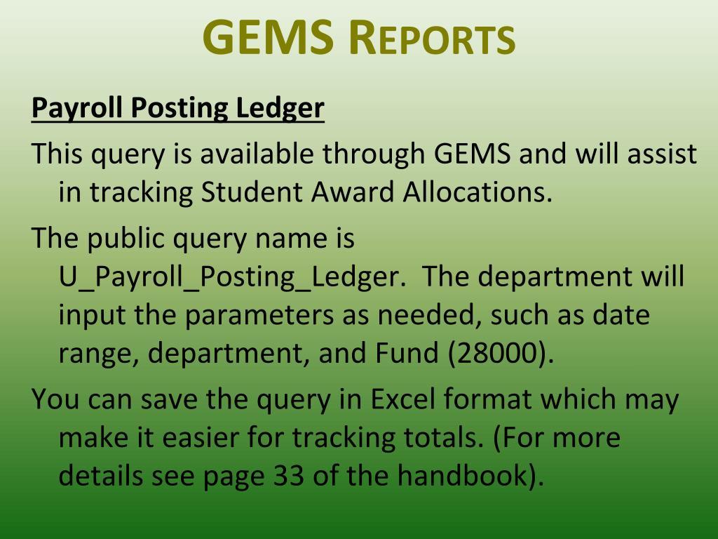 GEMS Reports