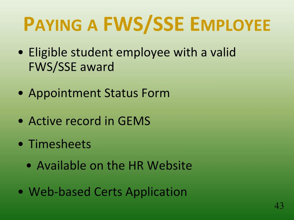 Paying a FWS/SSE Employee