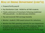 role of hiring department cont d32