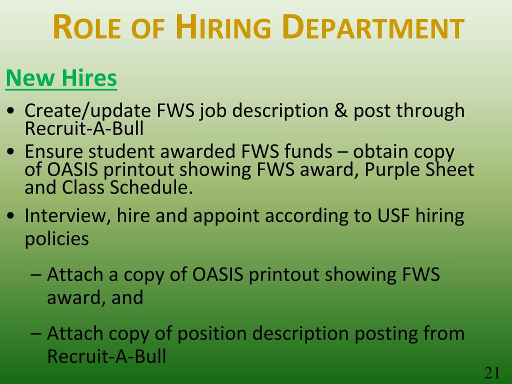 Role of Hiring Department