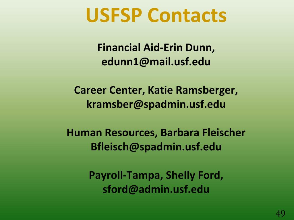 USFSP Contacts