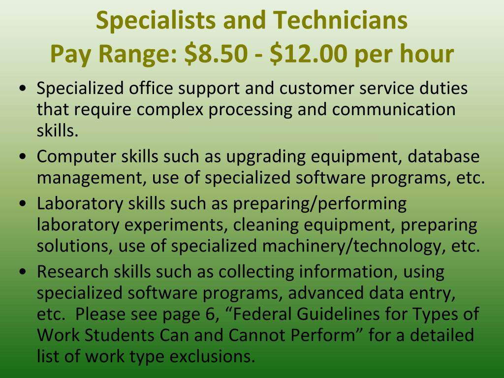Specialists and Technicians
