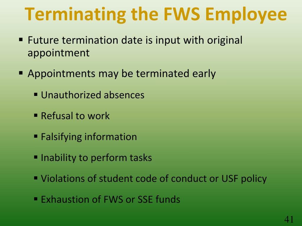 Terminating the FWS Employee