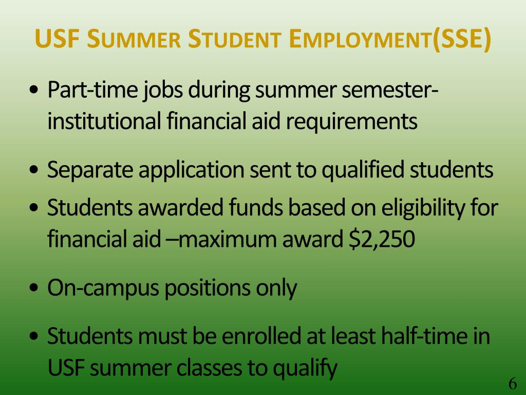 USF Summer Student Employment(SSE)