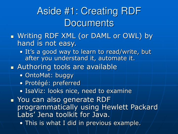 Aside #1: Creating RDF Documents