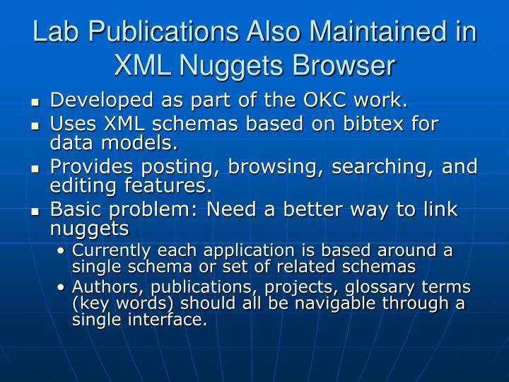 Lab Publications Also Maintained in XML Nuggets Browser