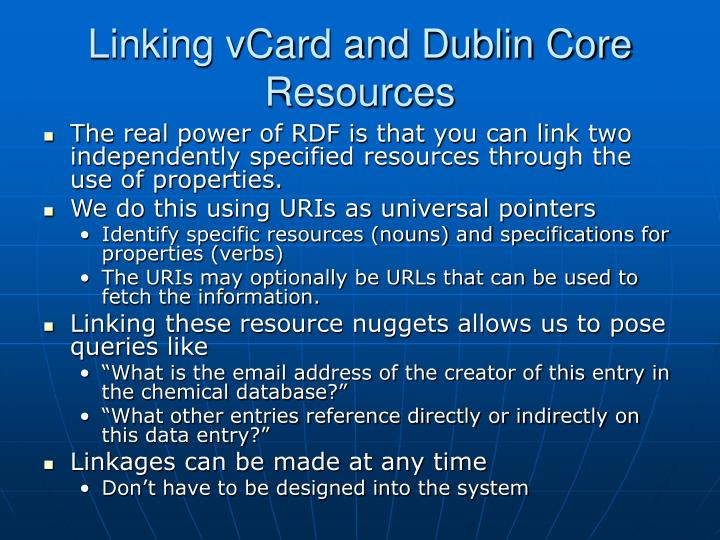 Linking vCard and Dublin Core Resources