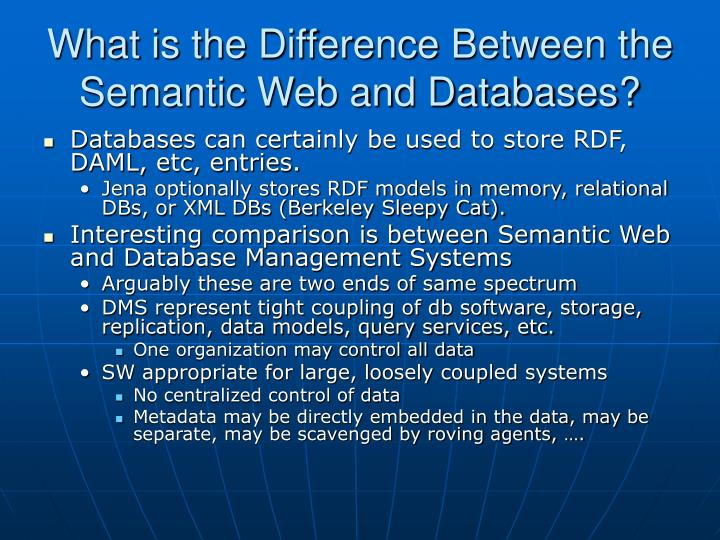 What is the Difference Between the Semantic Web and Databases?