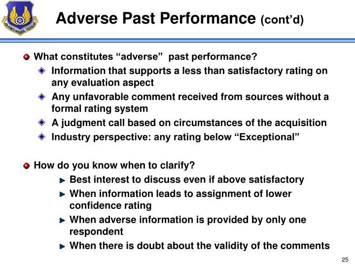Adverse Past Performance