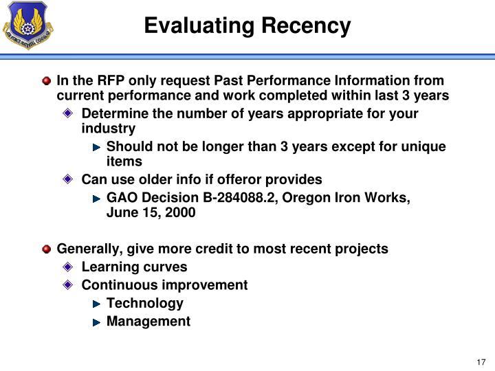 Evaluating Recency