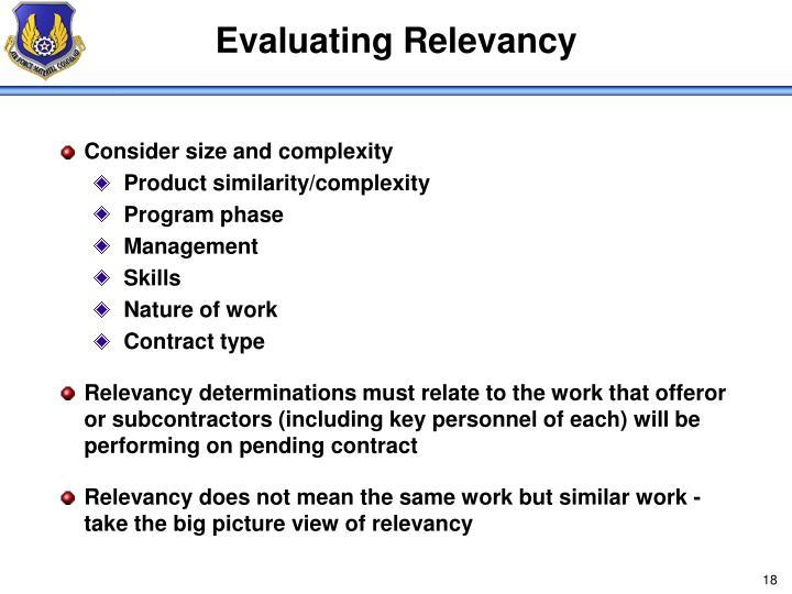 Evaluating Relevancy