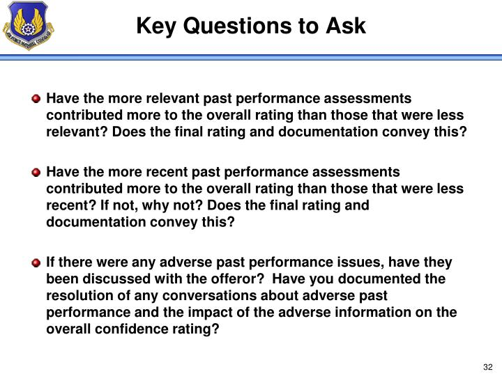 Key Questions to Ask