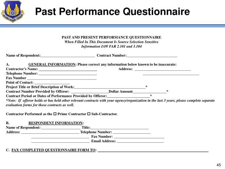 Past Performance Questionnaire