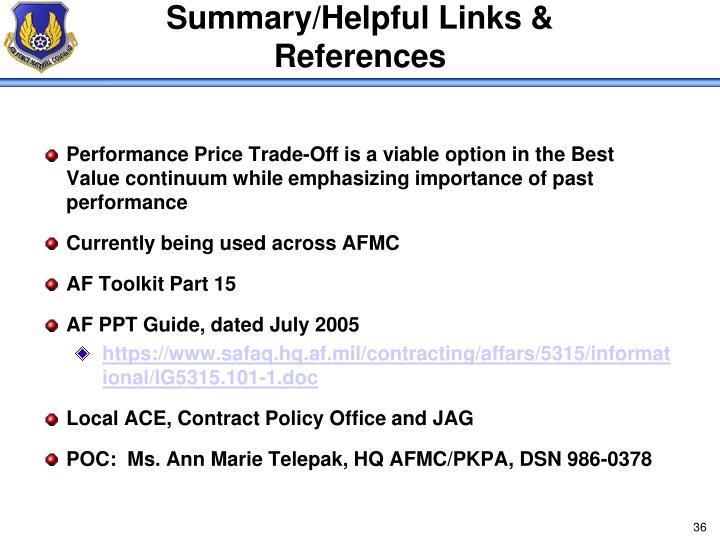 Summary/Helpful Links & References