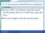 22 12 investment in real projects options