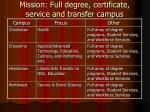 mission full degree certificate service and transfer campus