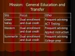 mission general education and transfer