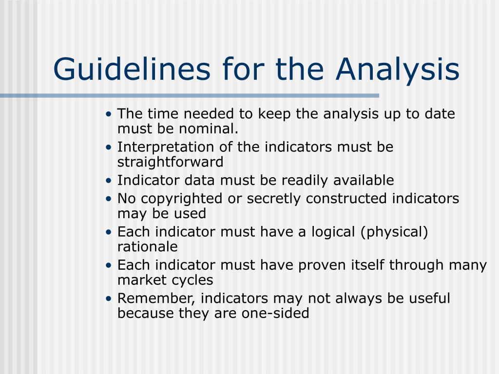 Guidelines for the Analysis