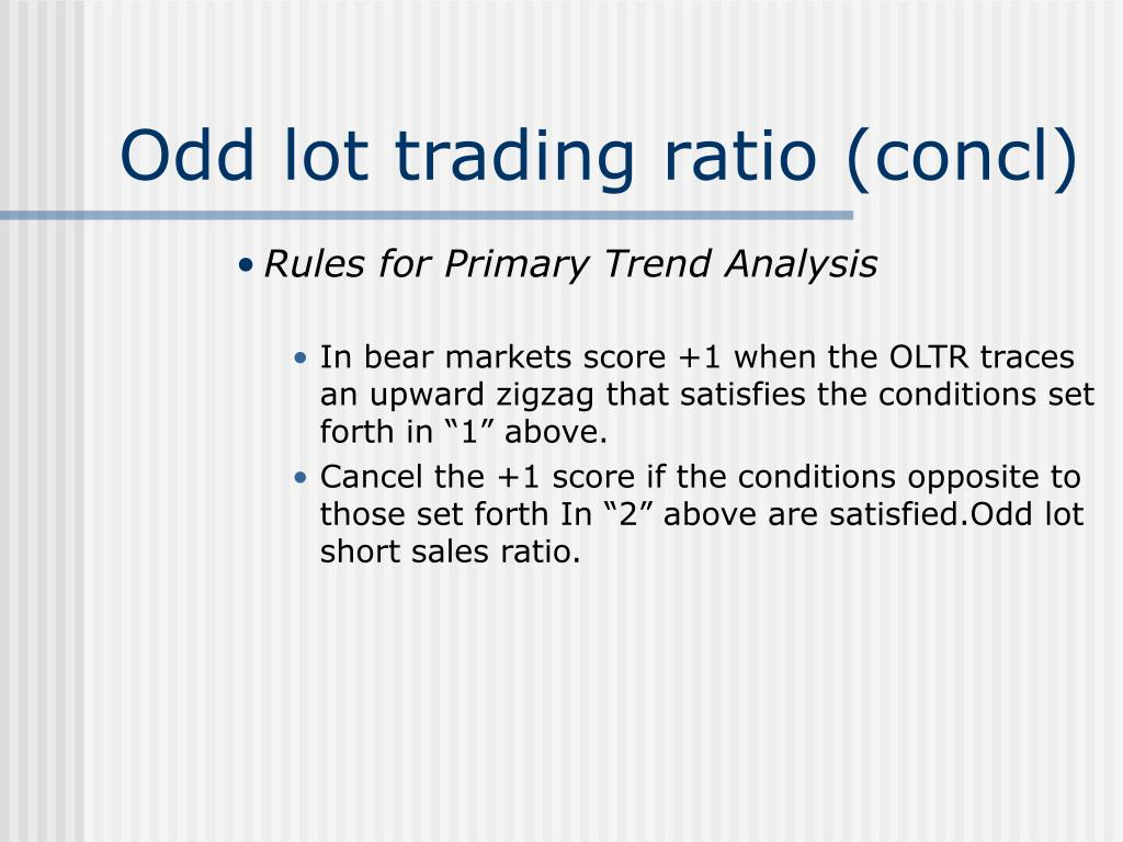Odd lot trading ratio (concl)