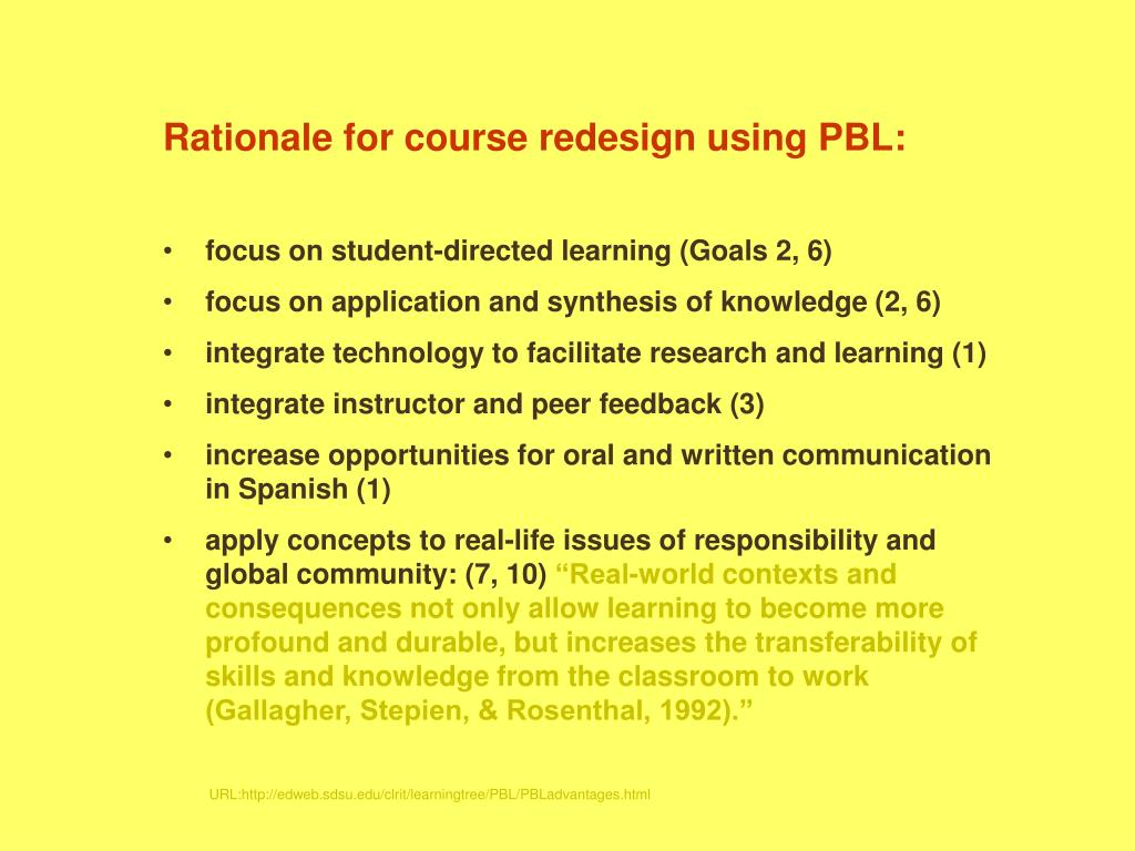 Rationale for course redesign using PBL: