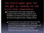 the third major goal for the qep is related to the first year experience