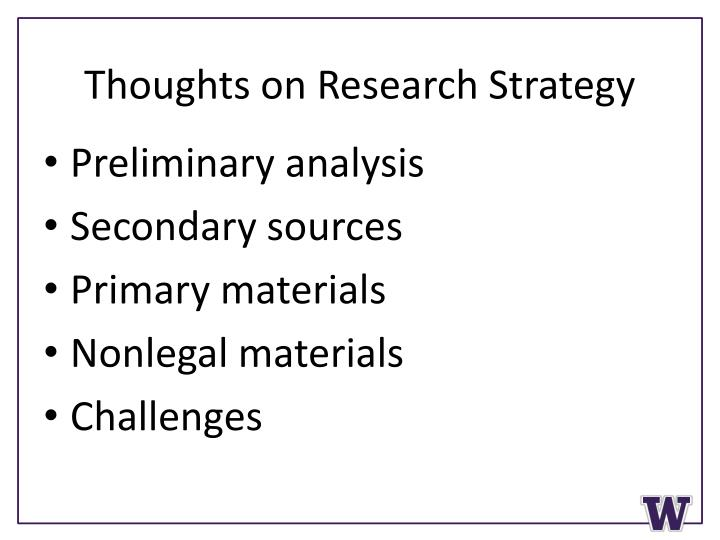 Thoughts on Research Strategy