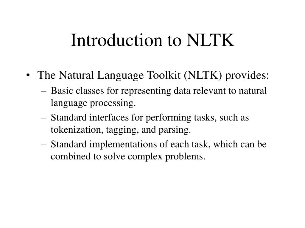 PPT - Python for NLP and the Natural Language Toolkit PowerPoint
