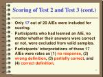 scoring of test 2 and test 3 cont