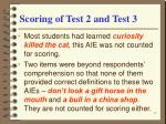 scoring of test 2 and test 3